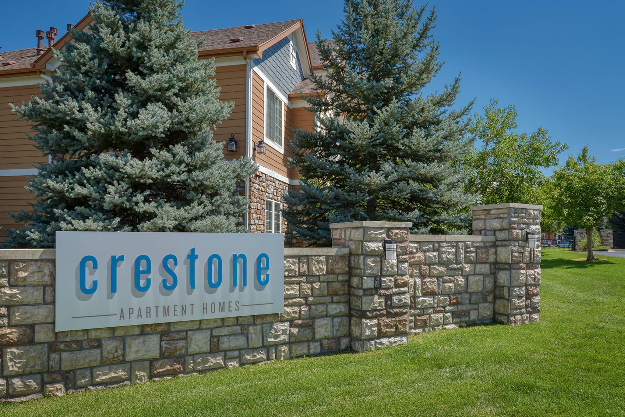 Monument Sign at Crestone Apartments in Aurora, Colorado