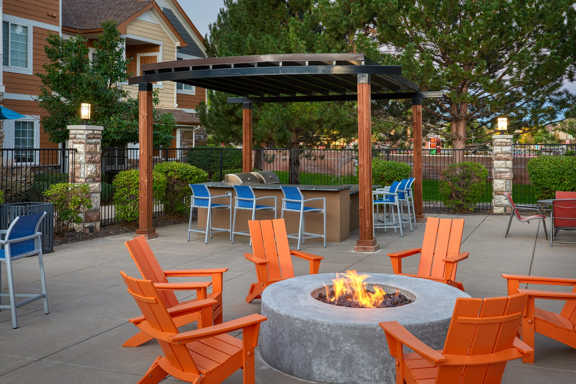Fire Pit and Covered BBQ at Crestone Apartments in Aurora, Colorado