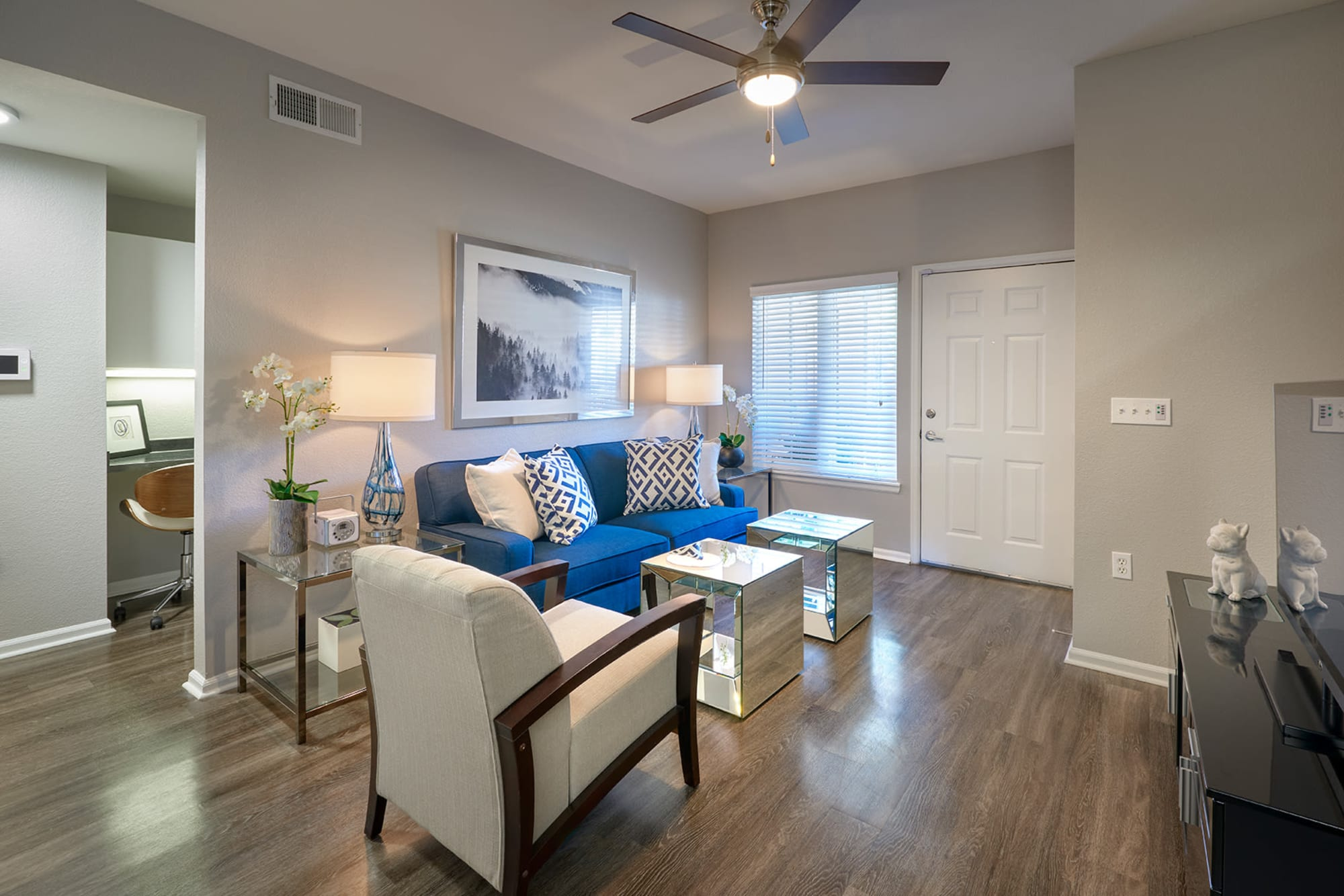 Furnished living room at Crestone Apartments in Aurora, Colorado