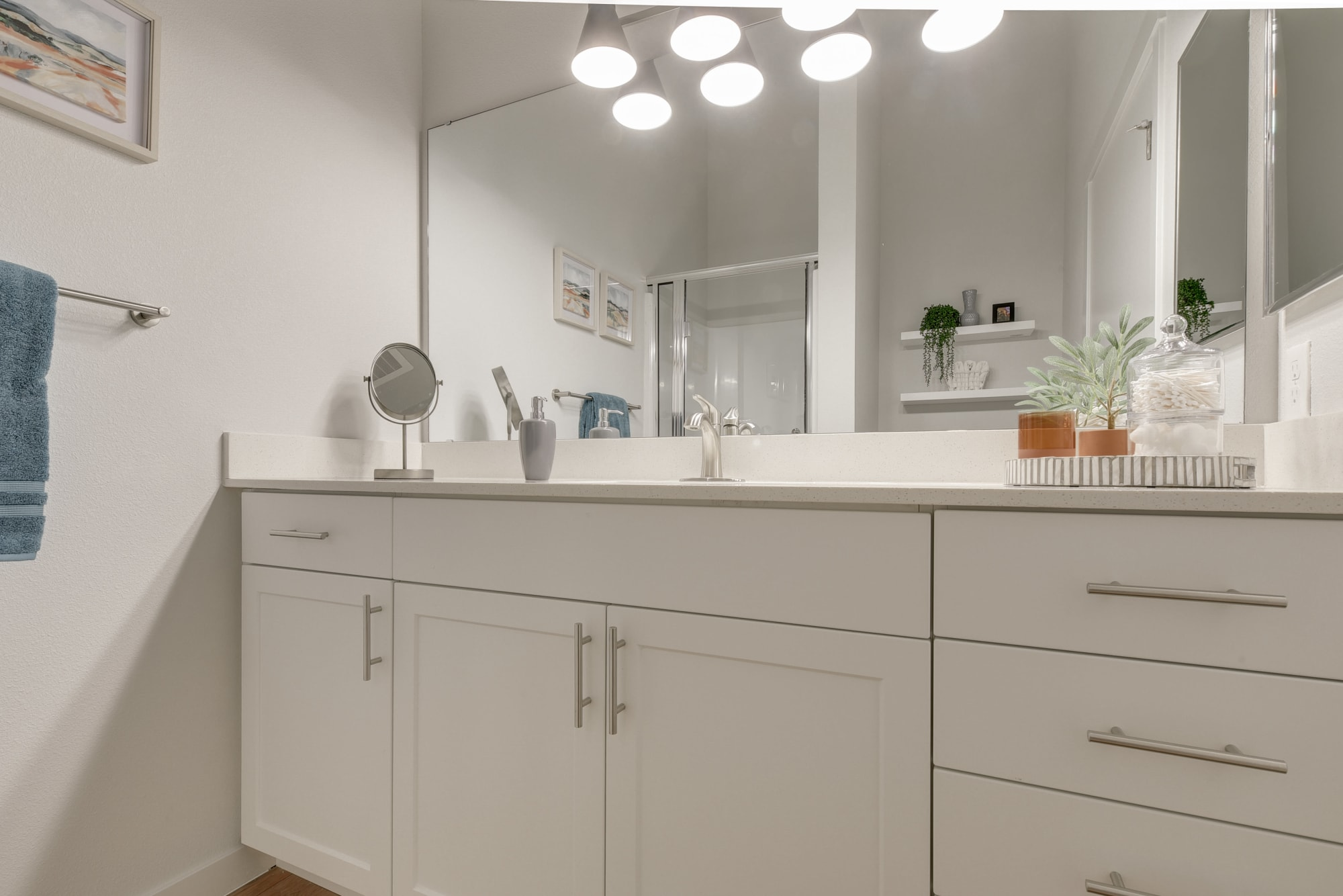Model Bathroom with White Cabinets at Kestrel Park in Vancouver, Washington
