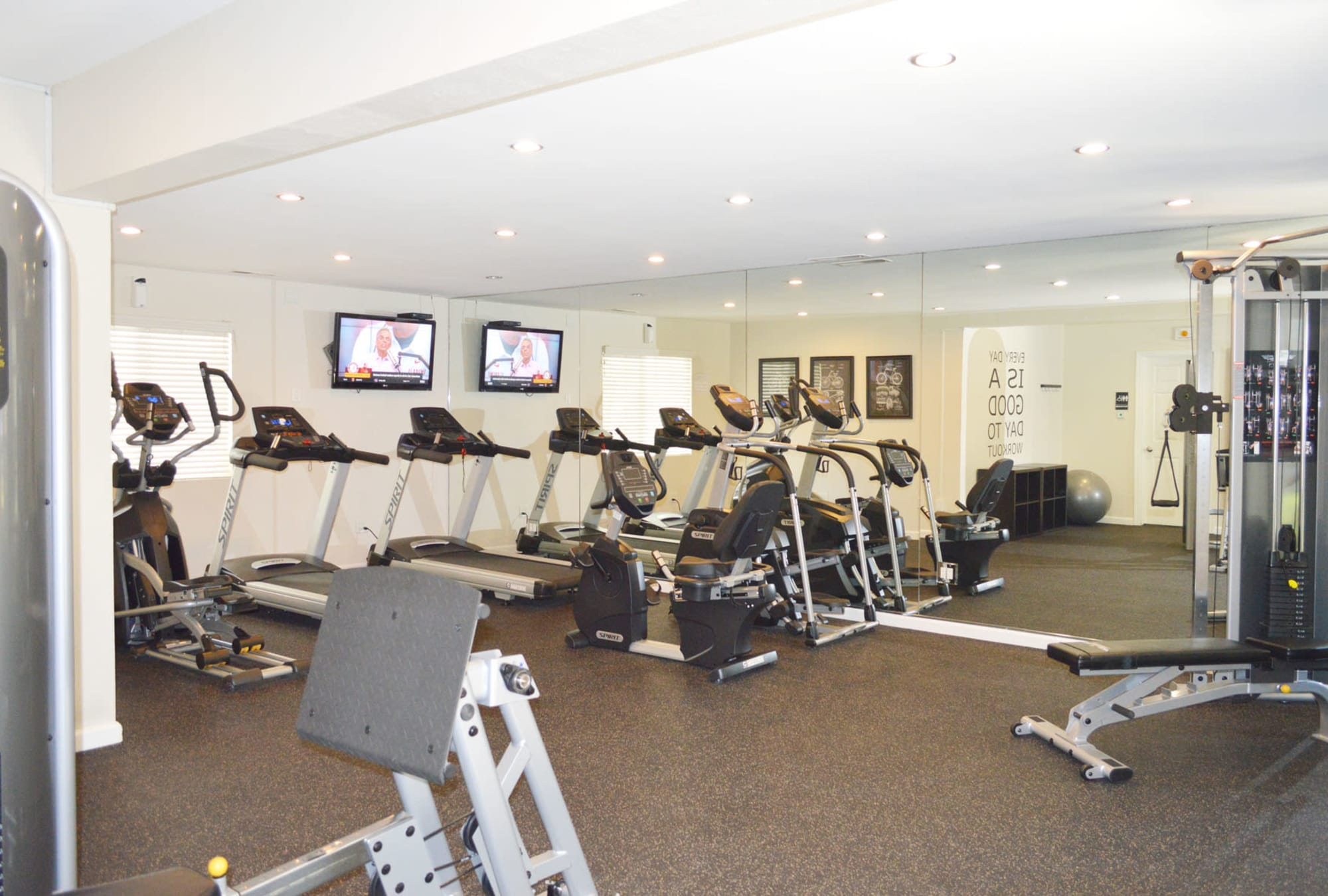 Well-equipped onsite fitness center at Pleasanton Glen Apartment Homes in Pleasanton, California