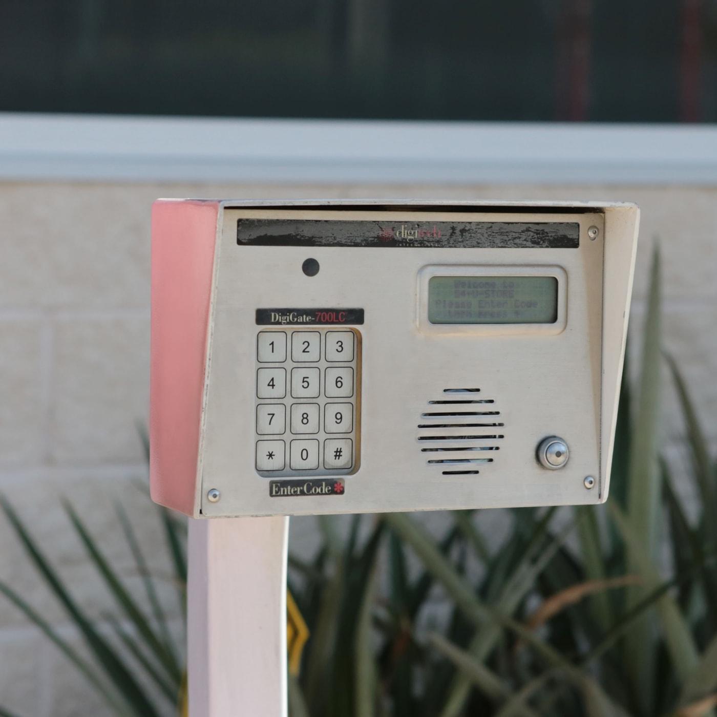 Keypad entrance to Midgard Self Storage in Lutz, Florida