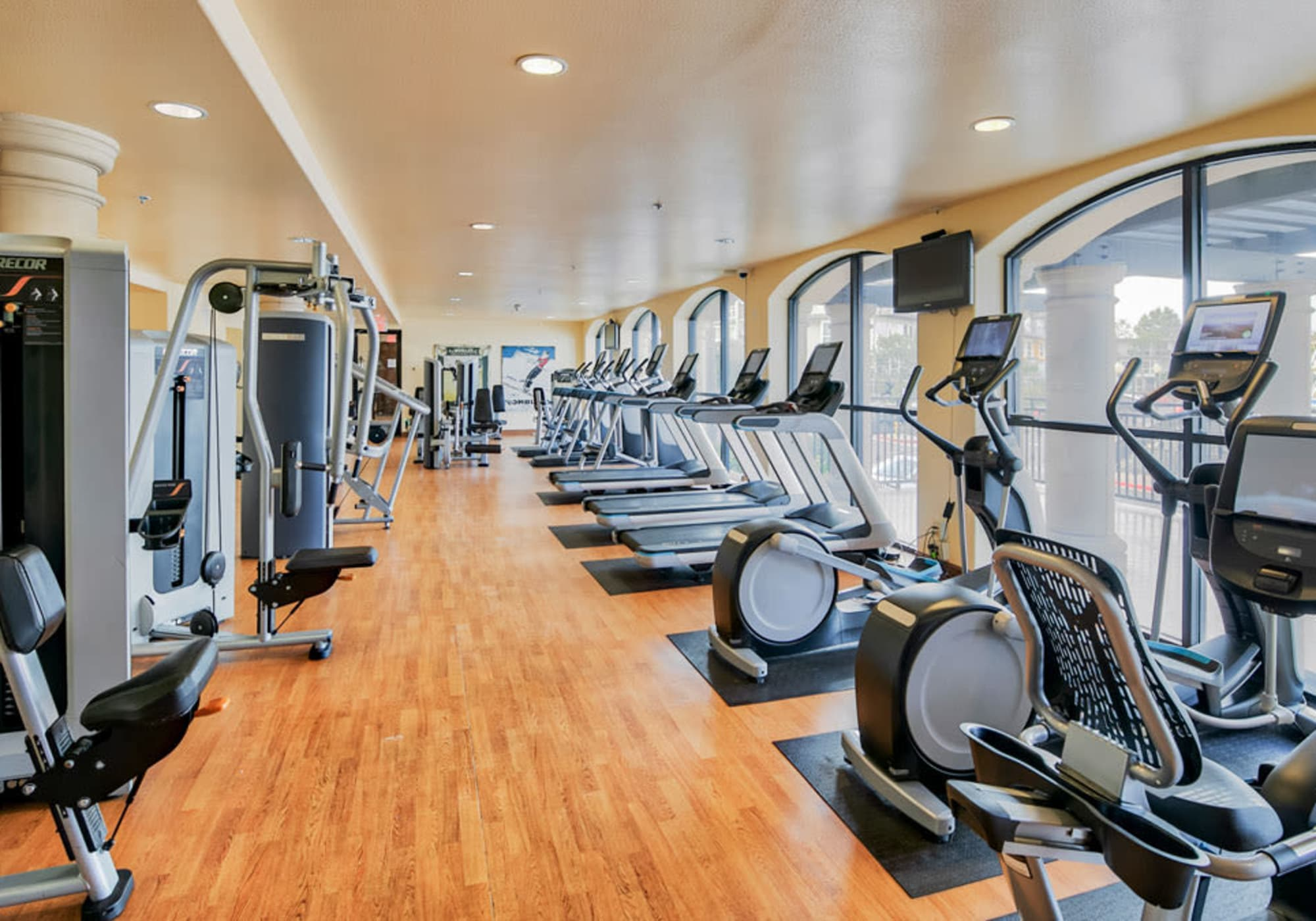 Very well-equipped fitness center at The Villa at Marina Harbor in Marina del Rey, California