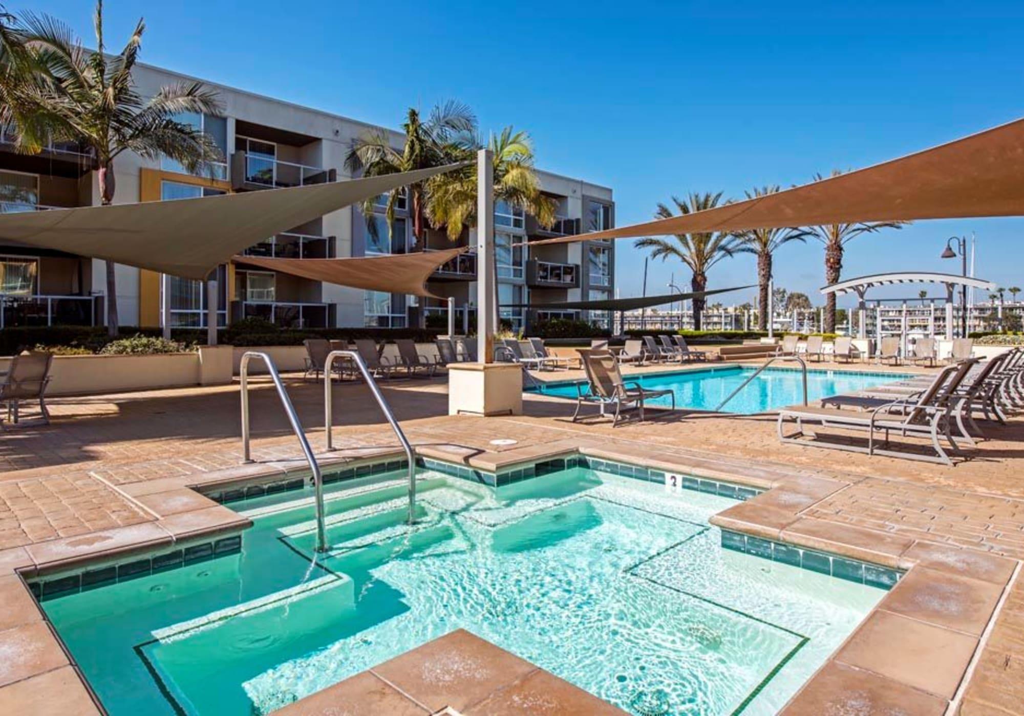 Luxurious spa near the swimming pool at The Villa at Marina Harbor in Marina del Rey, California
