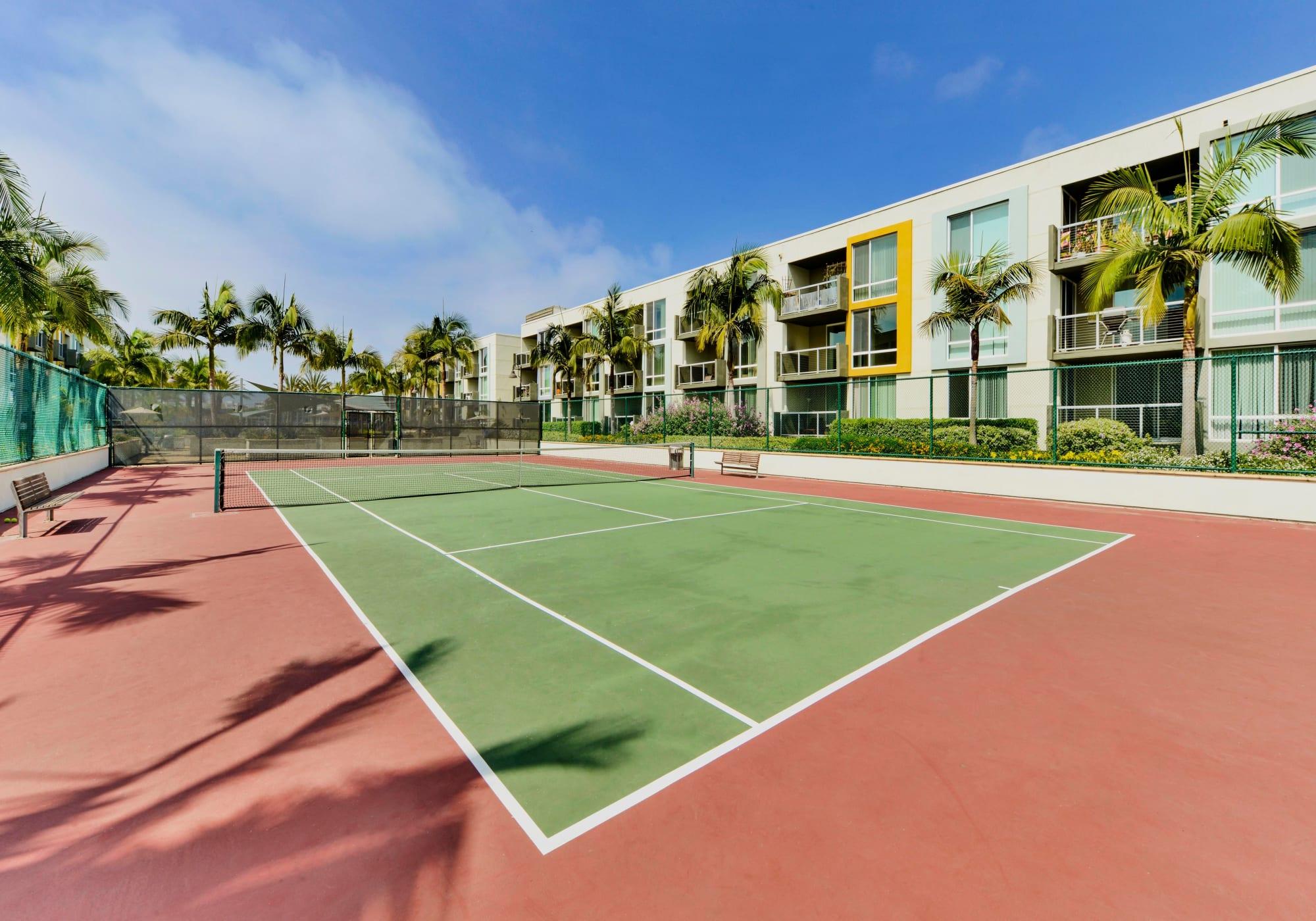Onsite tennis courts at The Villa at Marina Harbor in Marina del Rey, California