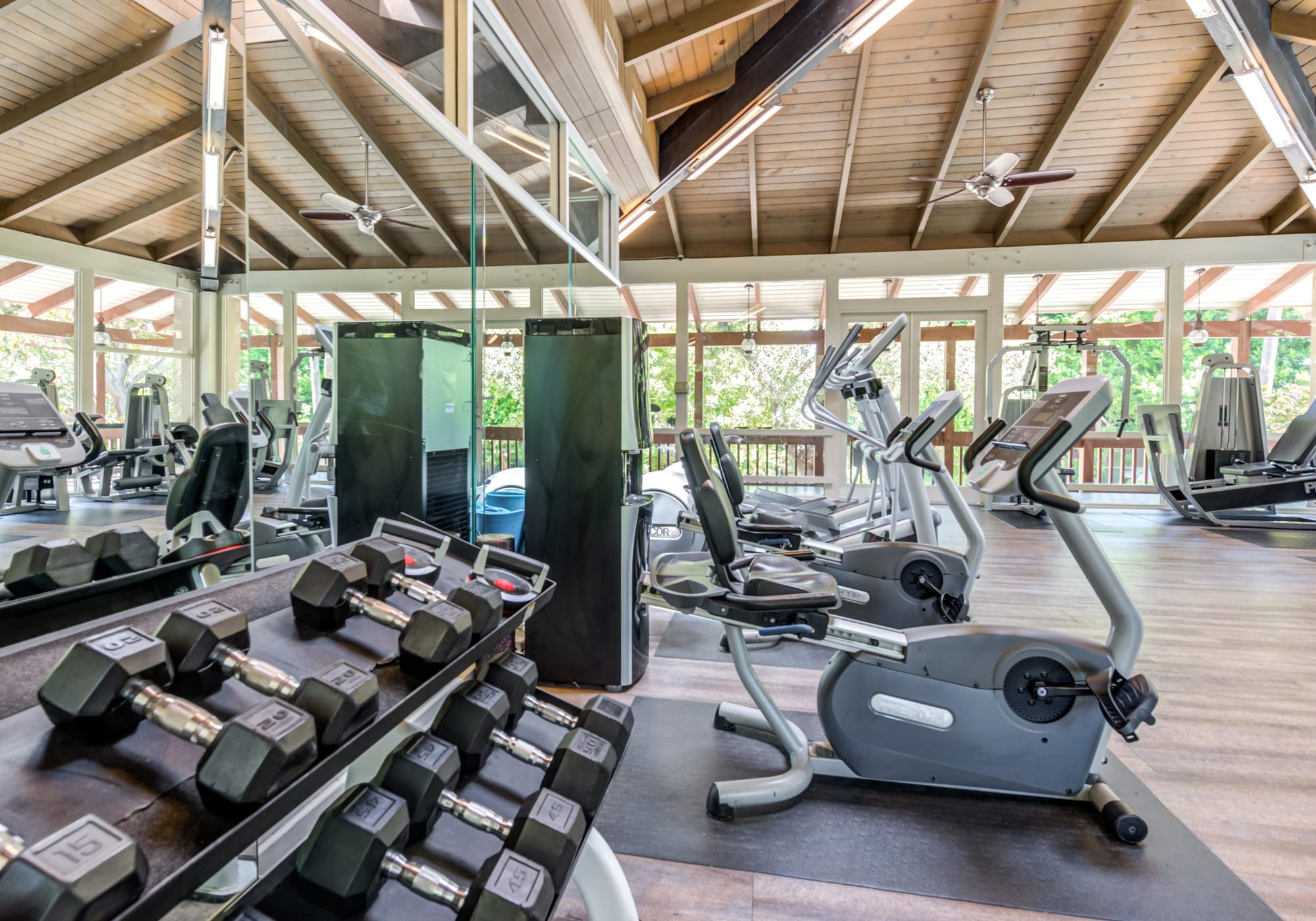 Very well-equipped onsite fitness center at Rancho Los Feliz in Los Angeles, California