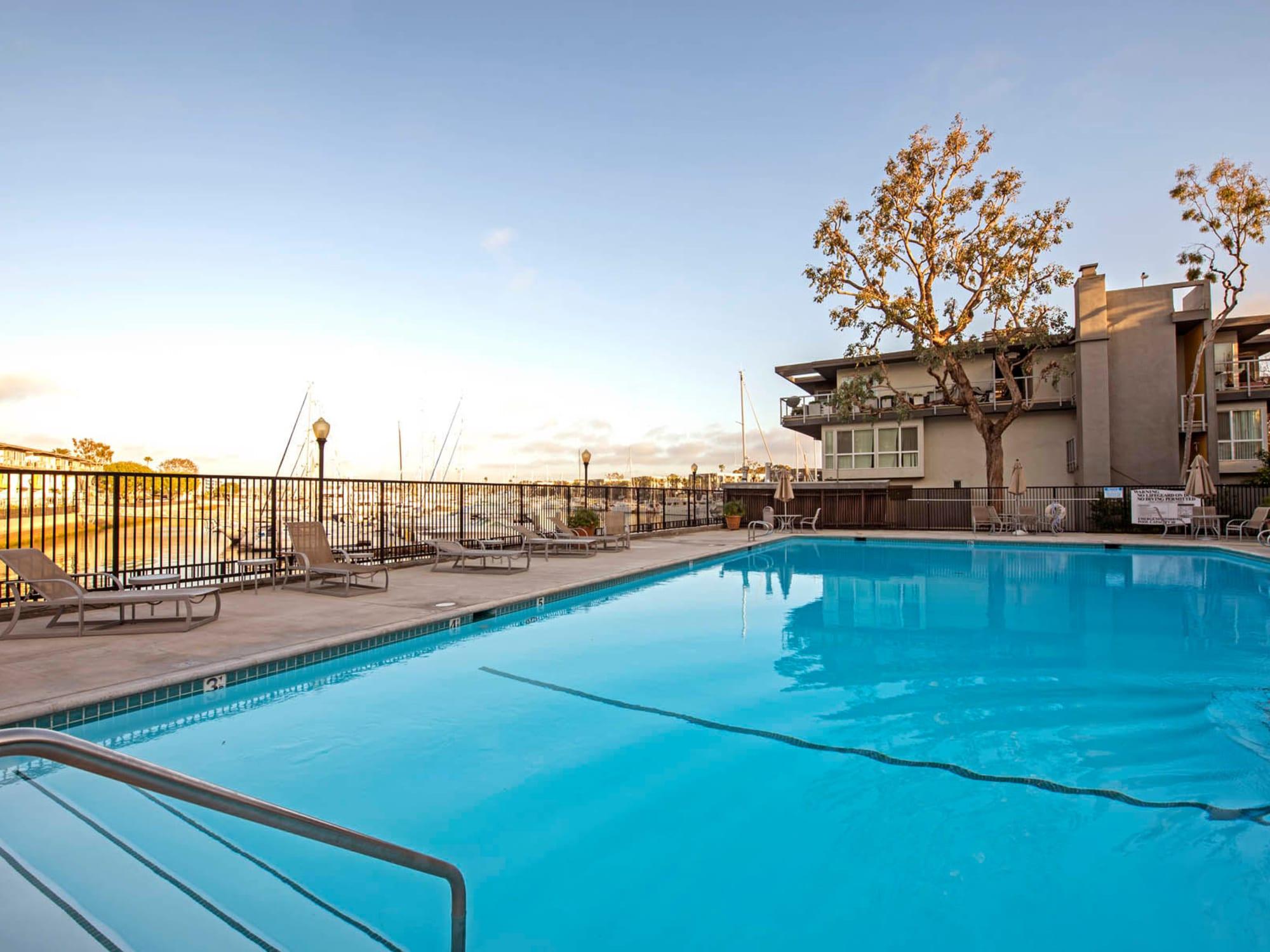 Swimming pool overlooking the marina at The Tides at Marina Harbor in Marina Del Rey, California