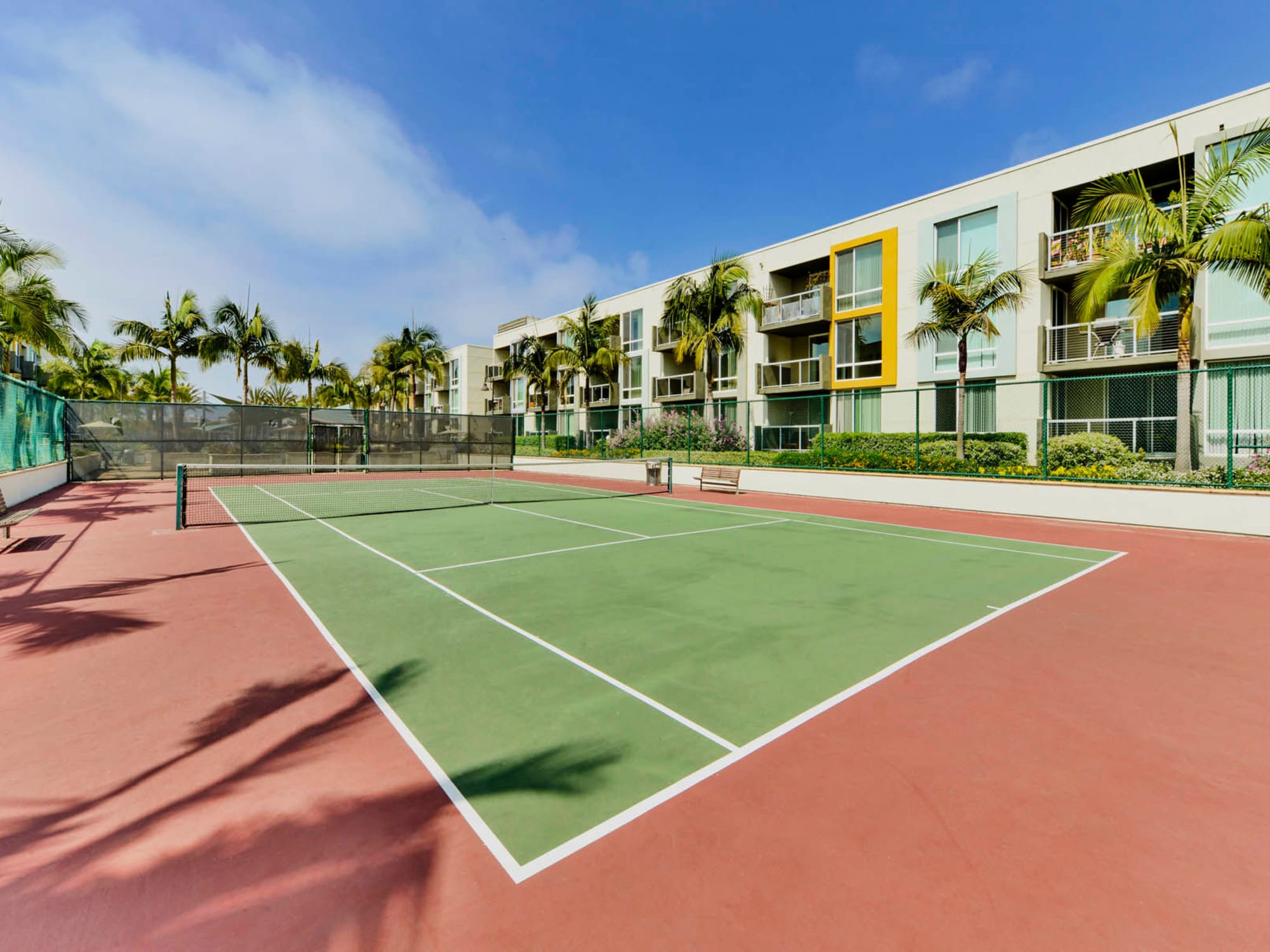 Well-maintained tennis courts at The Tides at Marina Harbor in Marina Del Rey, California