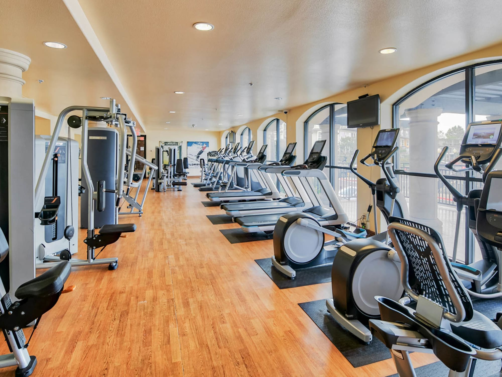Well-equipped onsite fitness center at Waters Edge at Marina Harbor in Marina Del Rey, California