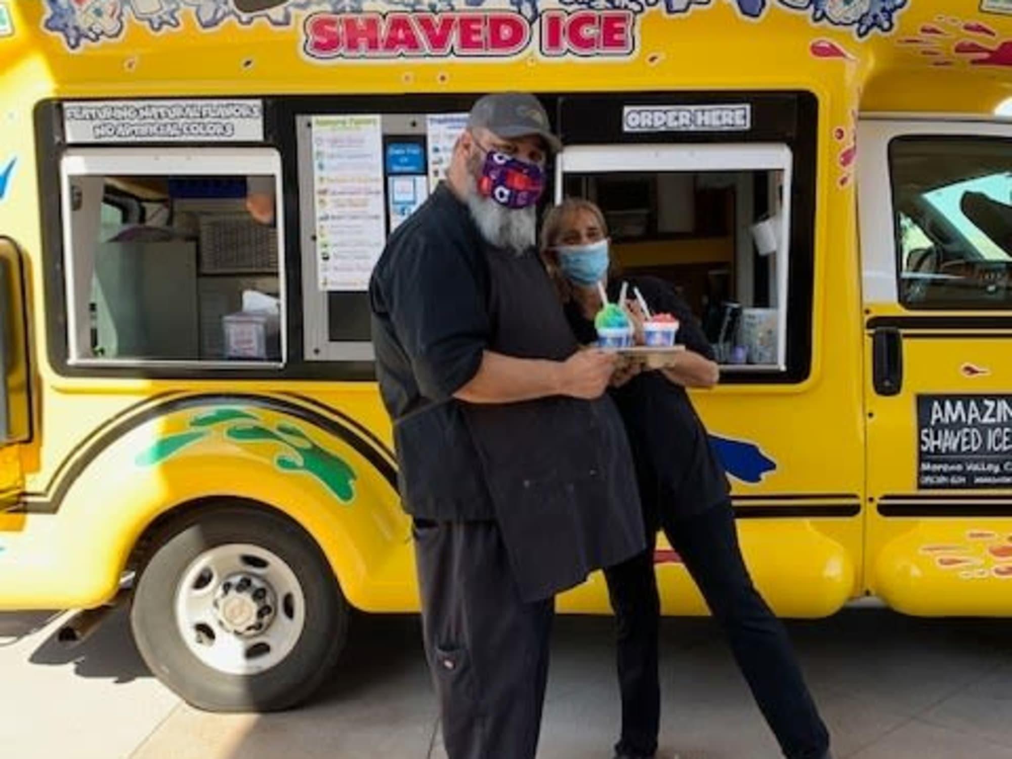 Hugging and eating ice cream at Estancia Del Sol in Corona, CA
