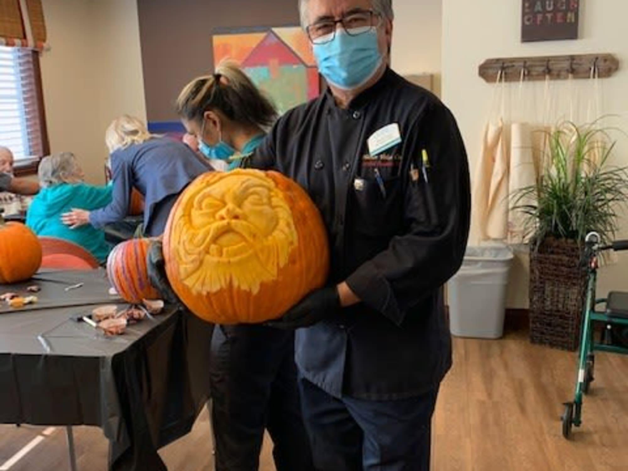 Carving pumpkins at Estancia Del Sol in Corona, CA