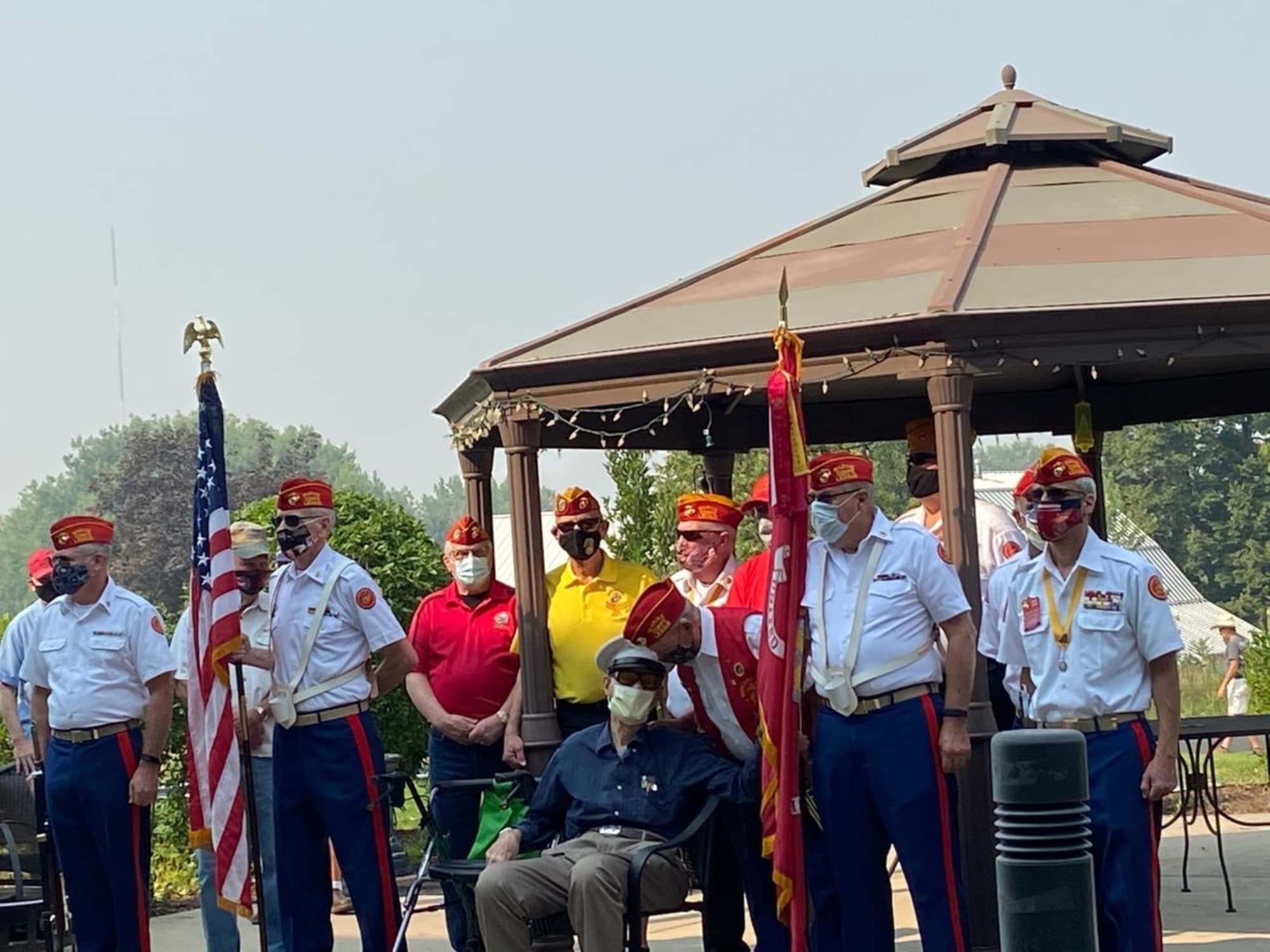 Veterans with flags at Hillcrest of Loveland in Loveland, Colorado