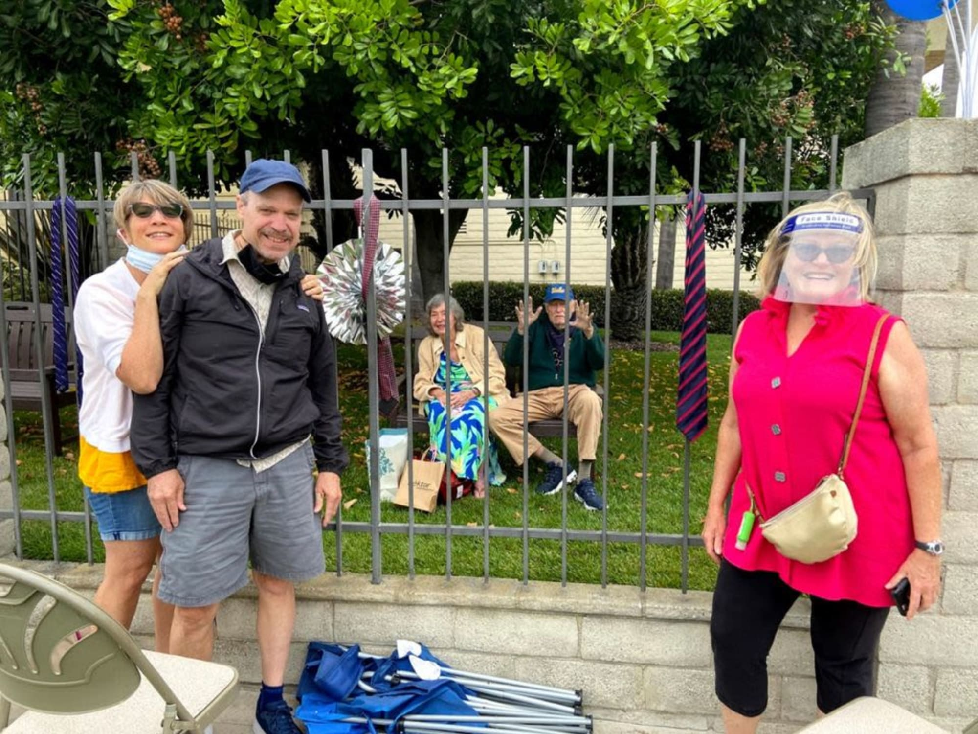 Having visitors at a safe distance at Huntington Terrace in Huntington Beach, California