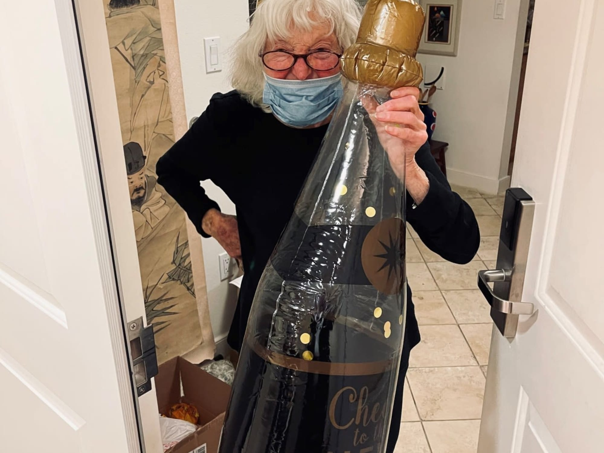 Giant blow up champagne bottle at The Bellettini in Bellevue, Washington