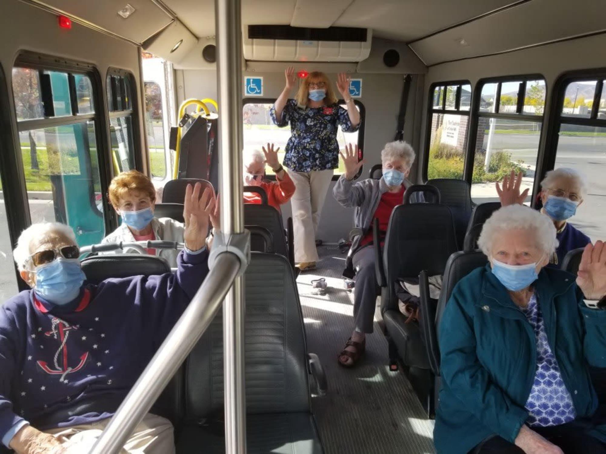 Riding a bus at The Charleston at Cedar Hills in Cedar Hills, Utah