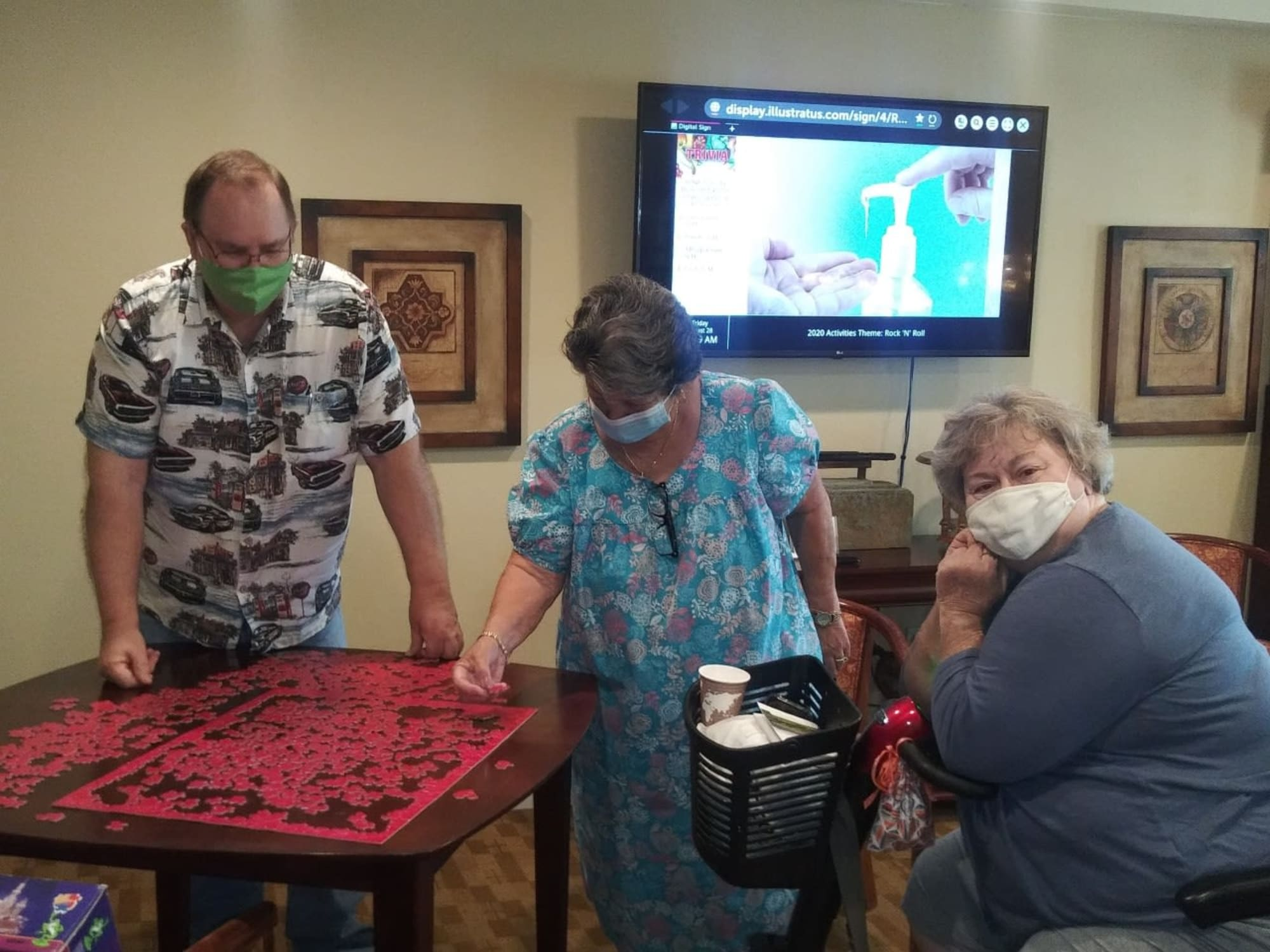 Doing a puzzle at The Commons at Union Ranch in Manteca, California