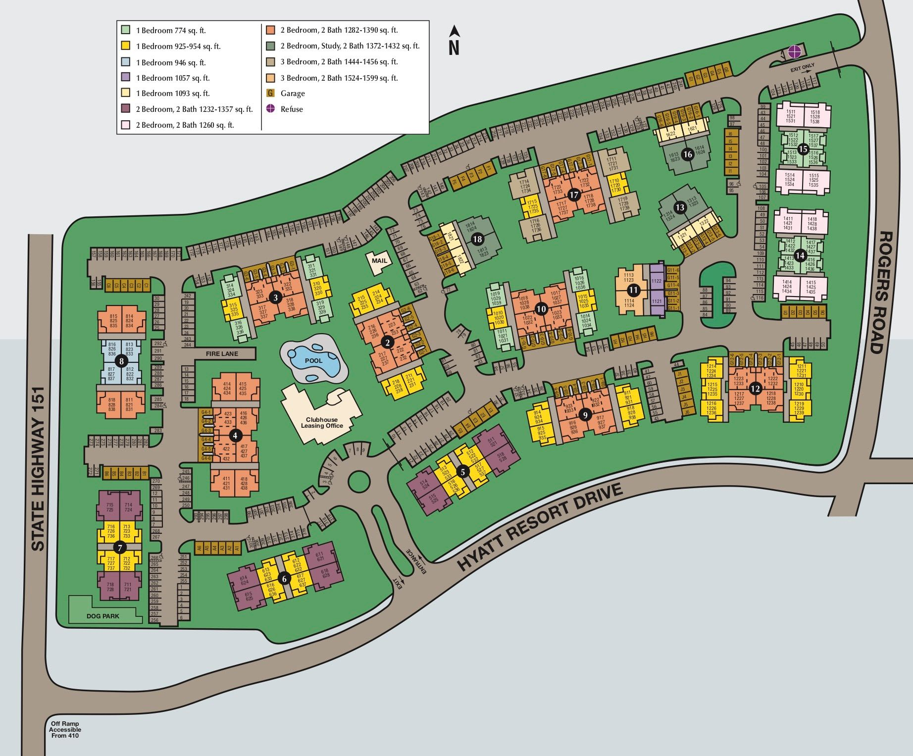 Site map of The Lodge at Westover Hills in San Antonio, TX