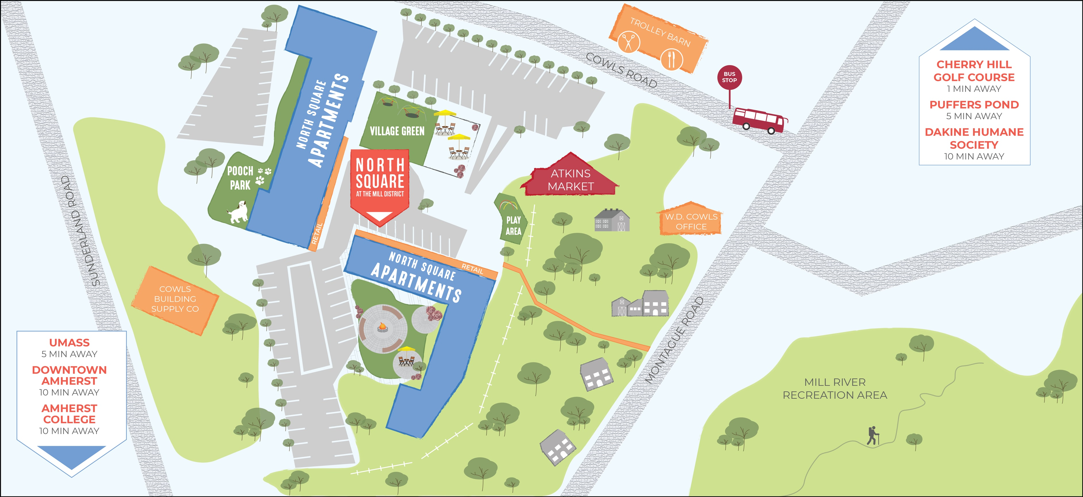 Sitemap at North Square Apartments at The Mill District in Amherst, Massachusetts