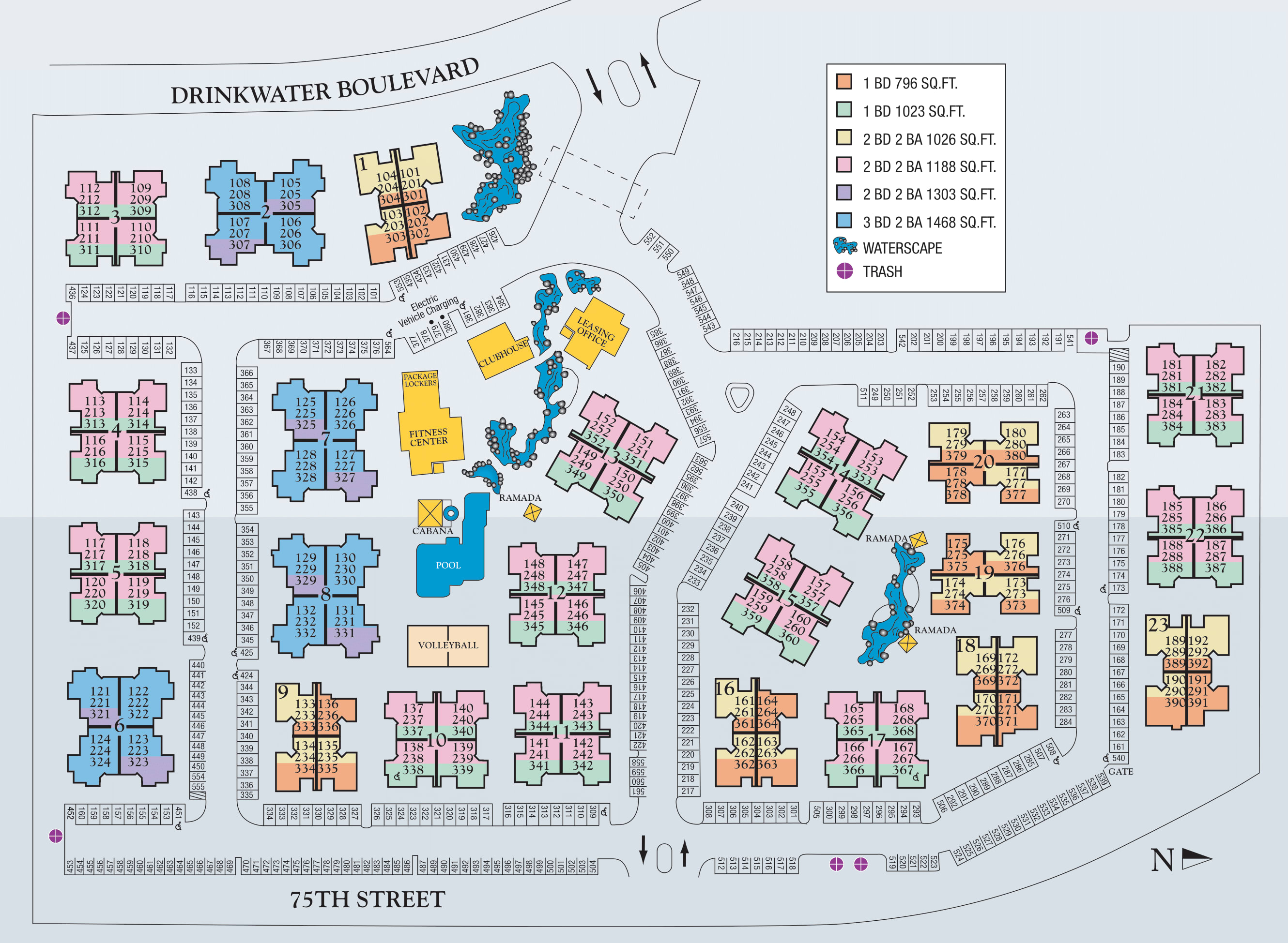 Site map of San Marin at the Civic Center in Scottsdale, AZ