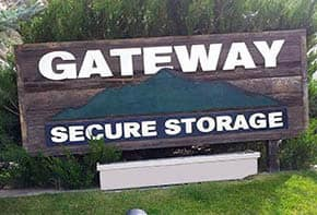 Sign outside of Gateway Secure Storage in Gypsum, CO