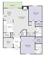 Printable floor plan Gold Cup w/ Study at Briar Cove Terrace Apartments