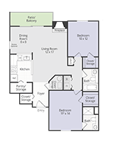 Printable floor plan Gold Cup at Briar Cove Terrace Apartments