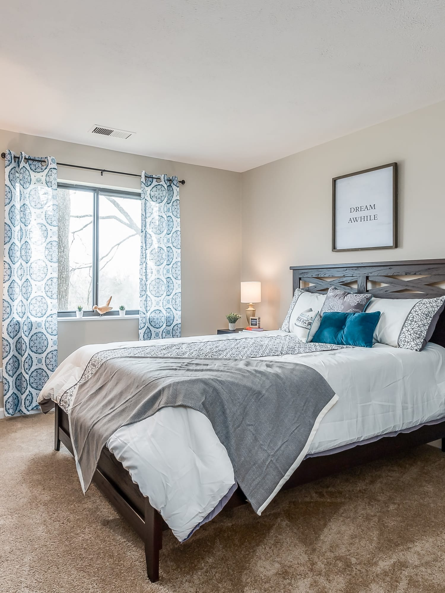 Model bedroom at Miamiview Apartments in Cleves, Ohio