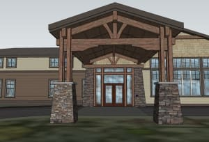 Columned entrance at Juniper Springs Senior Living