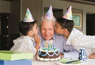 Senior living resident visits with family