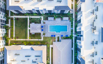 Aerial view of pool area Luma at West Palm Beach