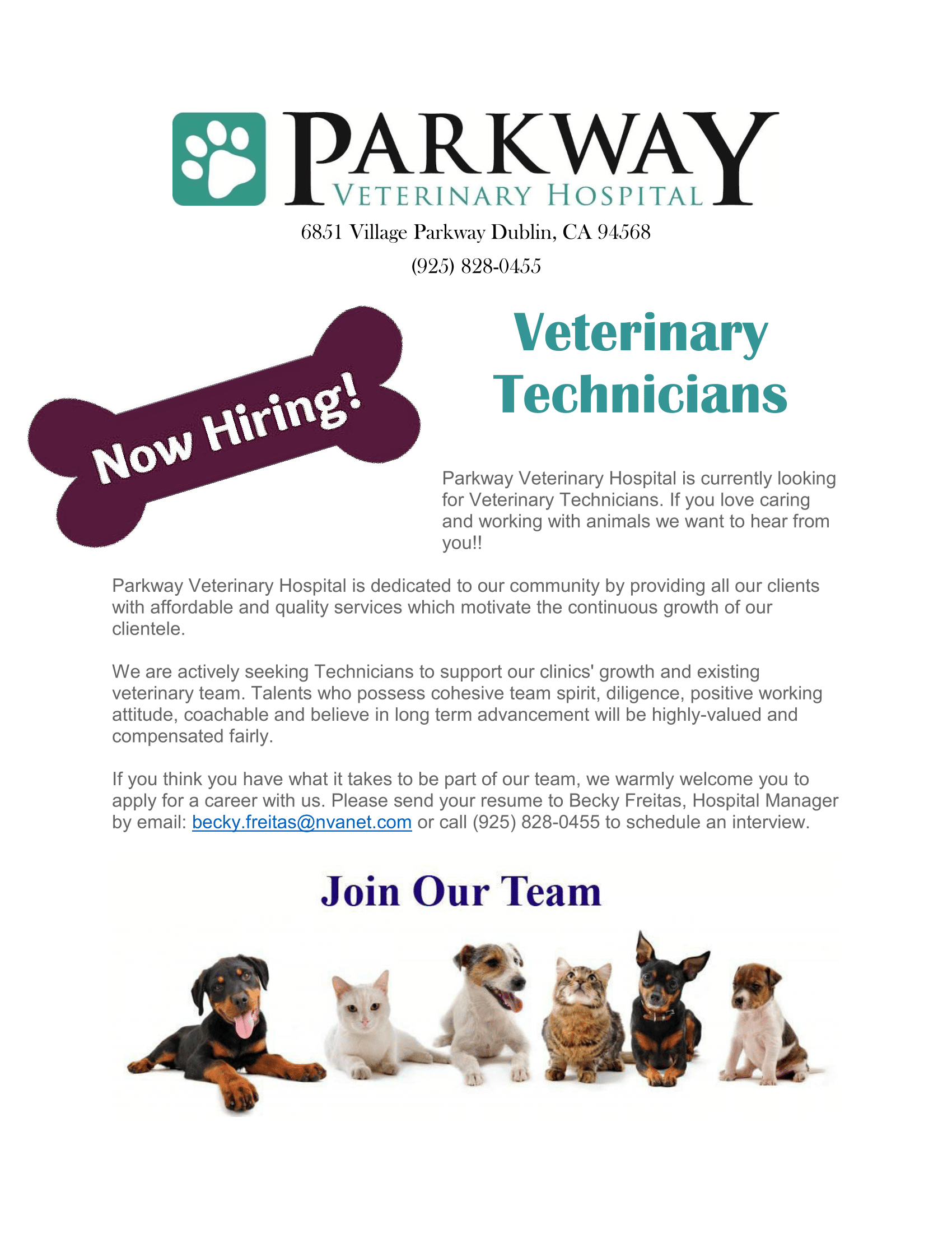 Parkway Veterinary Hospital hiring form for veterinary technician