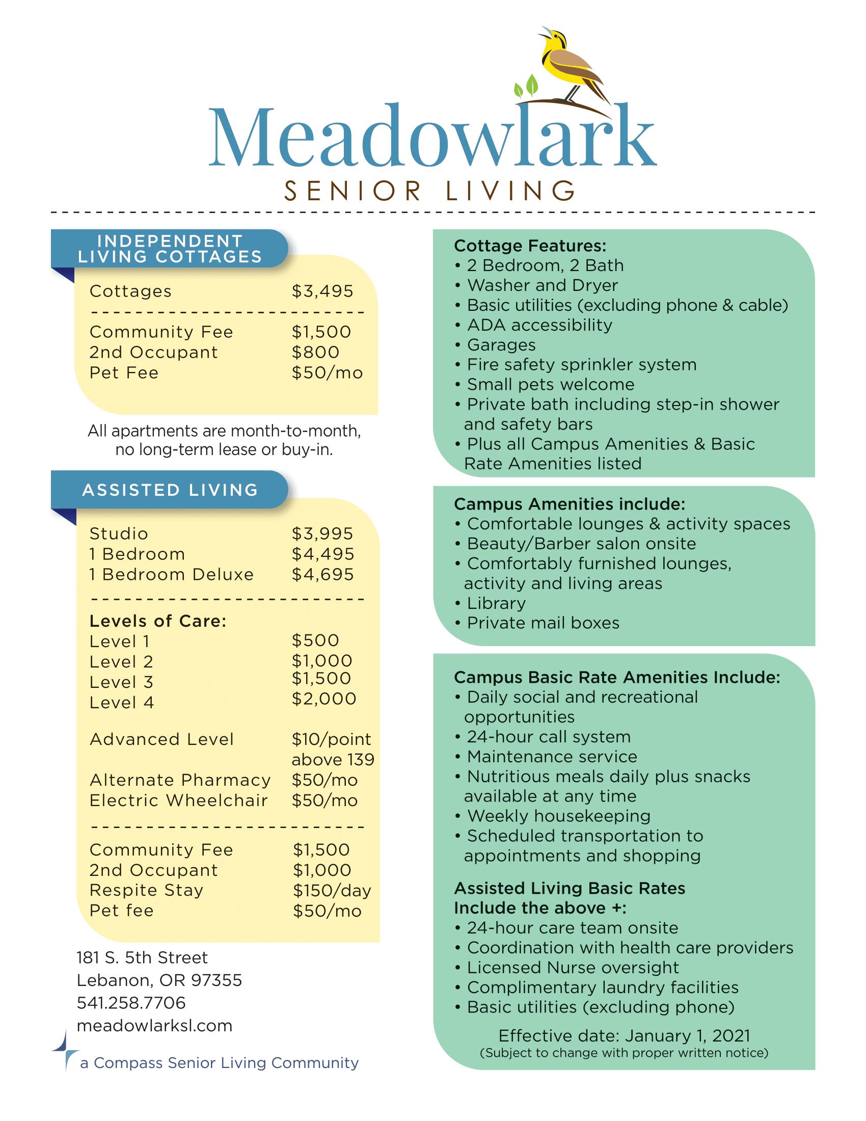 Meadowlark Senior Living rate sheet