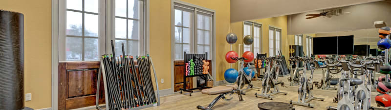 The fitness center with equipment at Arrabella in Houston, Texas
