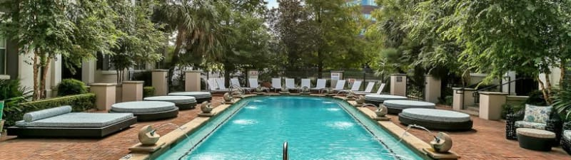 Outdoor swimming pool at Alesio Urban Center in Irving, Texas
