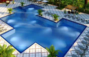 Ariel rendering of the pool at Lola Apartments