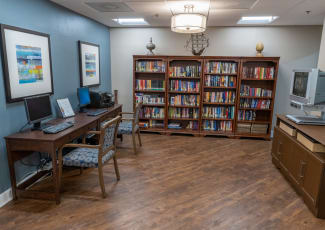 A library at Royal Palm Senior Living in Port Charlotte, Florida