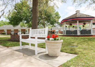 A park bench near Courtyards at Berne Village in New Bern, North Carolina