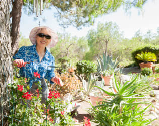 Woman gardening at Westmont Village in Riverside, California
