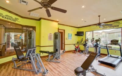 Modern fitness center at Park Hudson Place in Bryan, Texas