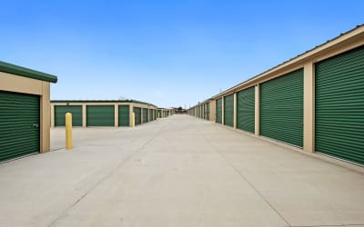 View of rows of outdoor units at Storage Star Cheyenne in Cheyenne, Wyoming
