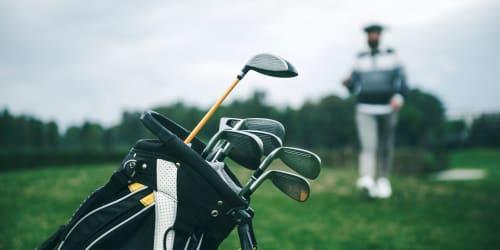 Golf clubs at a course near Seattle, Washington