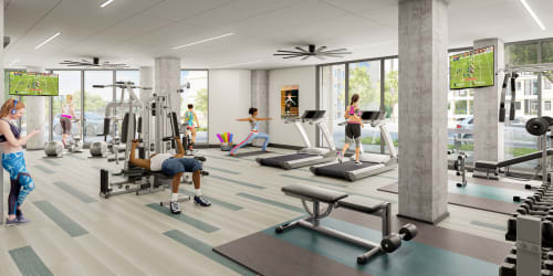 Rendering of brand new fitness center area at  The Columbia at the Waterfront in Vancouver, Washington