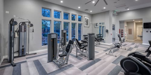 The 24-hour fitness center at Hawthorne Hill Apartments in Thornton, Colorado