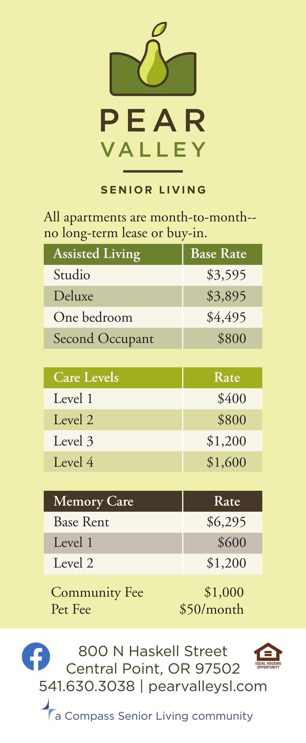 Rate sheet for Pear Valley Senior Living in Central Point, Oregon