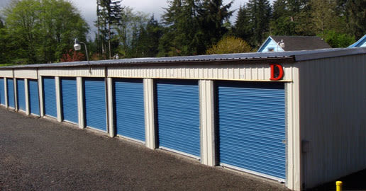 Blue doors on the units at ABC Mini Storage in Aberdeen, Washington