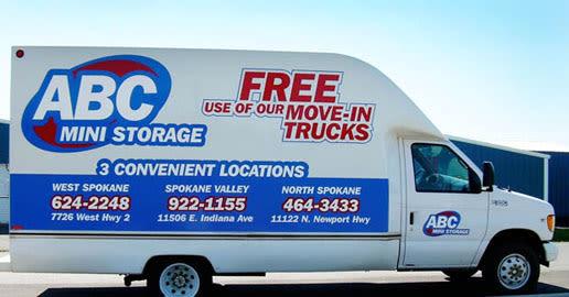 Moving van at ABC Mini Storage in Spokane, Washington