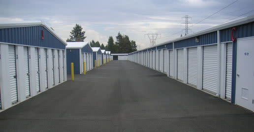 Wide driveways at ABC Mini Storage in Spokane, Washington