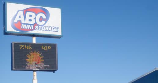 Welcome sign at ABC Mini Storage in Spokane, Washington