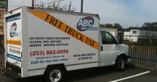 Rental van at ABC Mini Storage in Pacific, Washington
