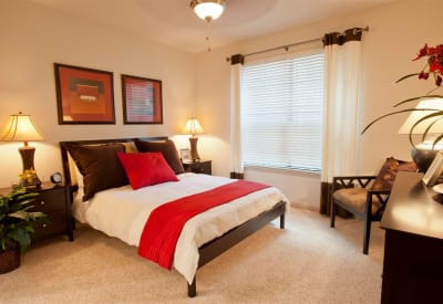 Spacious bedroom in model apartment home at Villas at Bunker Hill